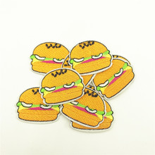 100pcs 3.5*4.0cm Food Hamburger Iron On Patches Clothing DIY Embroidery Clothes Jeans Decoration
