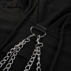 Image 5 - Fitshinling Chains cropped hoodie autumn harajuku streetwear cotton women hoodies sweatshirts crop top irregular red hoody 2018