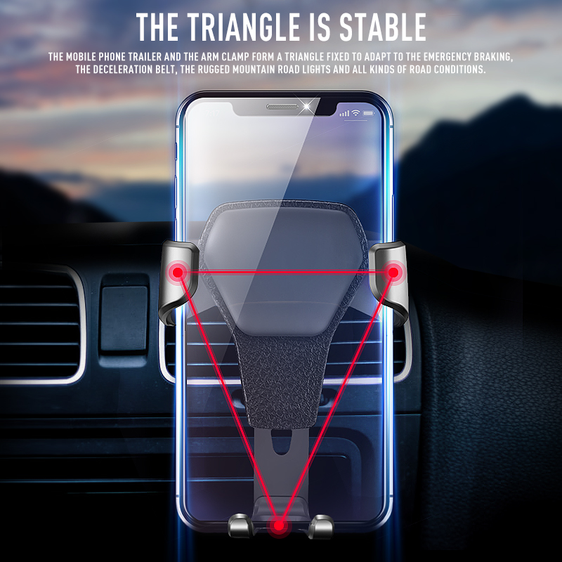 Color : Silver Car Bracket Air Outlet Alloy Silicone Anti-Skid Gravity Traction Mobile Navigation Bracket Triangle Stable Universal 4-6 Inch Mobile Phone