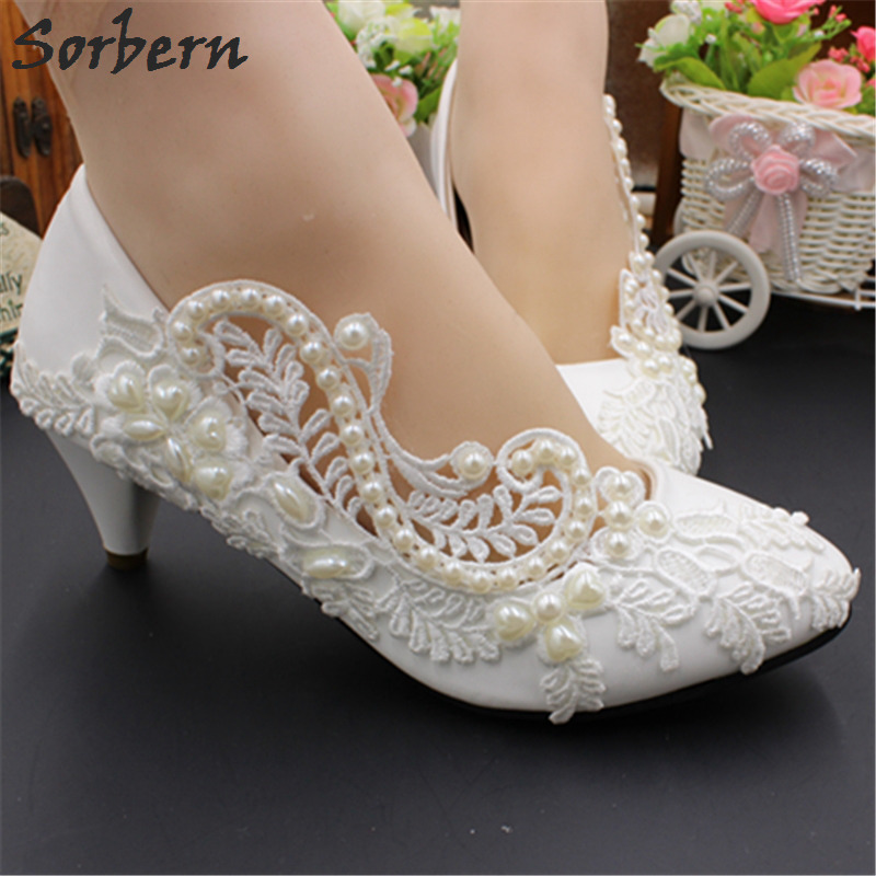 Sorbern White Beads Lace Wedding Shoes Med Heels Slip On Cheap Bridal Shoes Stilettos Pumps Women Shoes Sapato Feminino 2018 New sorbern white beading ankle strap cute flowers wedding shoes med heels bridal shoes wholesale women shoes party and evening shoe