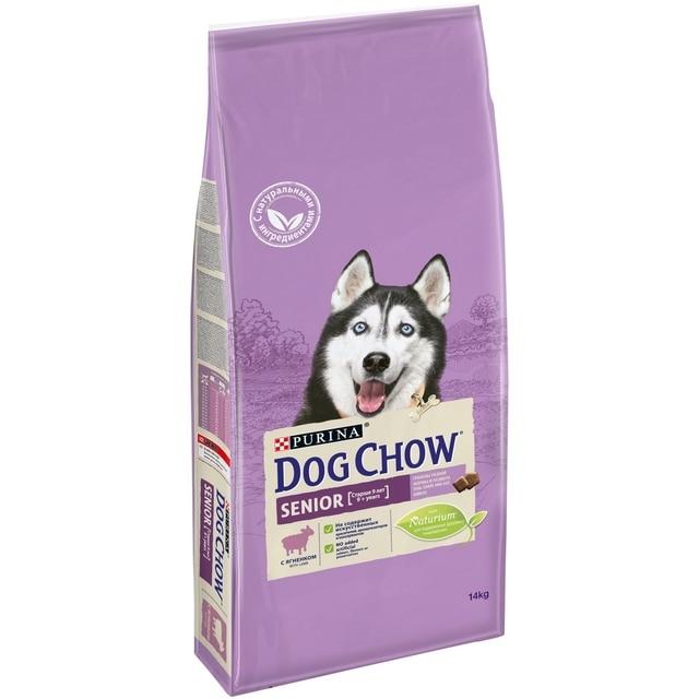 Dog Chow Senior для собак всех пород в возрасте от 9 лет, Ягненок, 14 кг