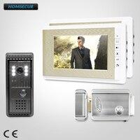 HOMSECUR 7 дюймов Видеодомофон Система Электрический Замок с ключами в комплекте для квартиры XC003 + XM708 G