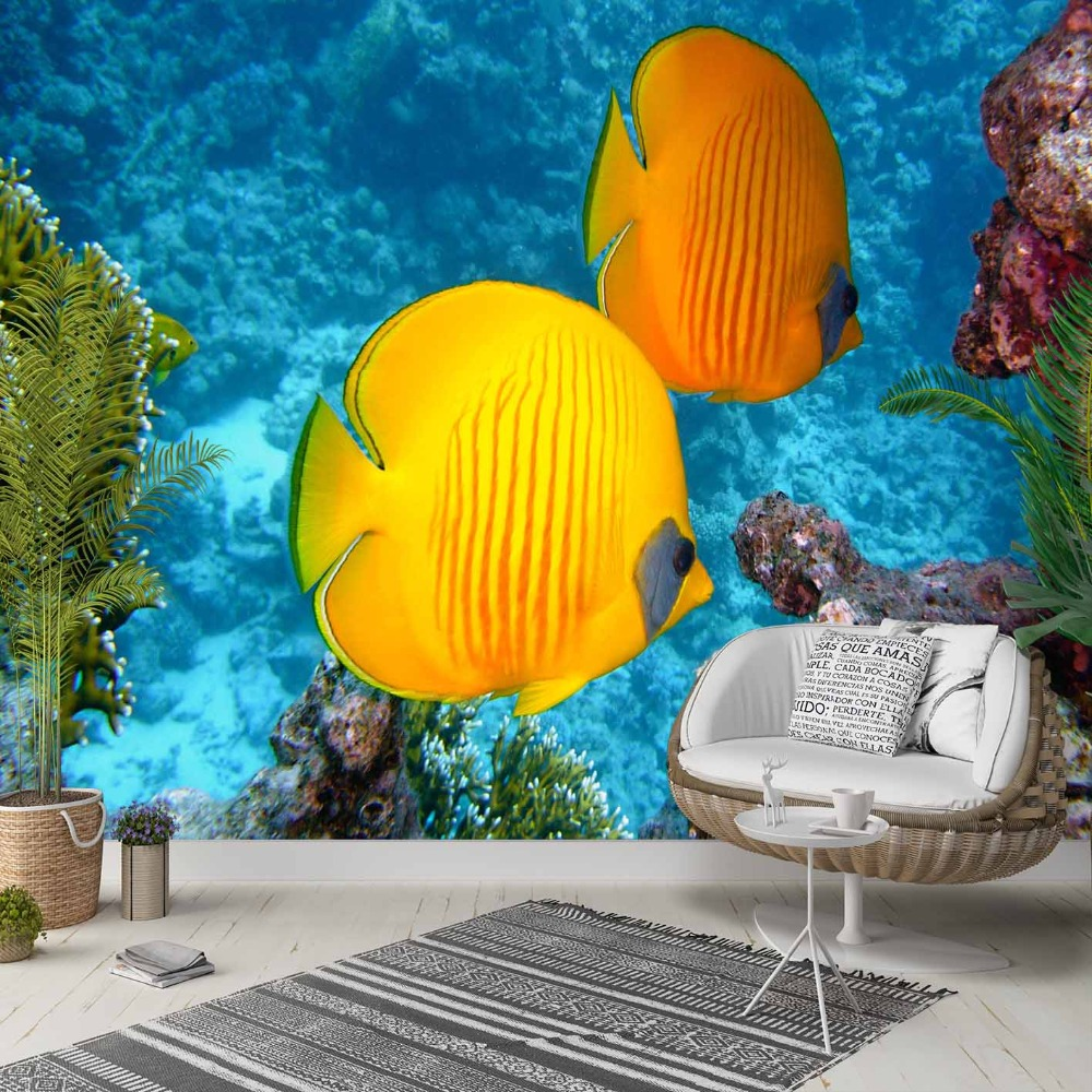 Else Tropical Blue Under Sea Yellow Fishes 3d Photo Cleanable Fabric Mural Home Decor Living Room Bedroom Background Wallpaper