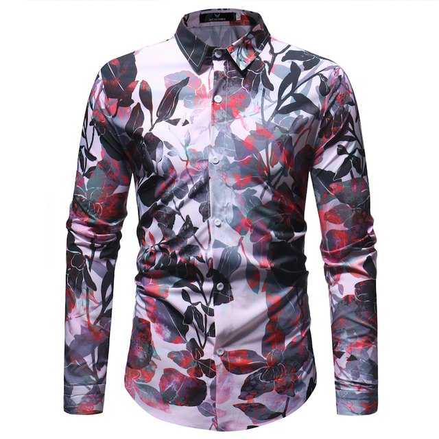 Men Long Sleeve Pattern Printing Casual Shirt