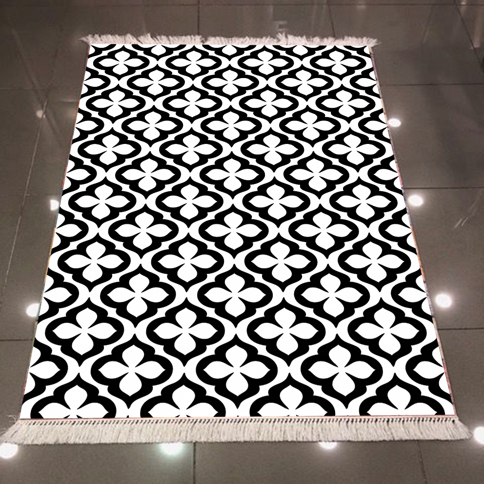 Else Black White Ethnic Authentic Damask Design 3d Print Microfiber Anti Slip Back Washable Decorative Kilim Area Rug Carpet