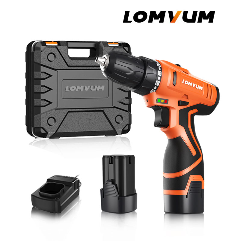 LOMVUM New 16 8V 24V Double Speed Electric Drill With Accessories Rechargeable Electric Screwdriver Mini Cordless