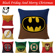 Super Heros Cushion Cover Pillow case Superman,SpiderMan,Iron,American CP Flash Home Decoration Club Chair Seat