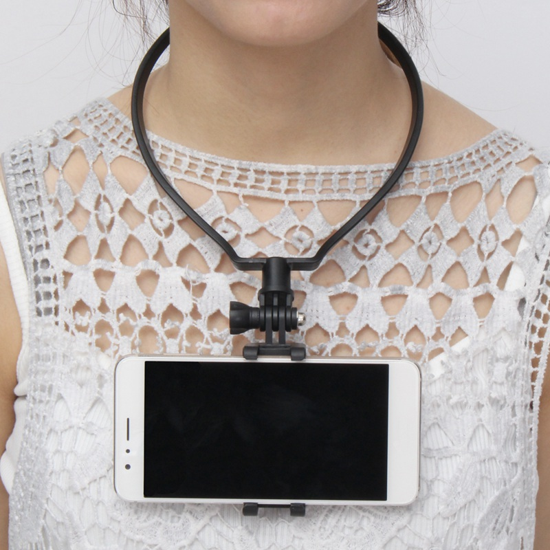 Funny Mobile <font><b>Phone</b></font> <font><b>Neck</b></font> Hanging <font><b>Holder</b></font> 5.8-7.6cm Universal Self-timer Photo Clip Bracket Portable Adjustable Plastic Practical
