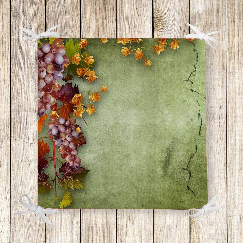 Else Damson Grapes Vintage Green Wall 3d Print Chair Pad Seat Cushion Soft Memory Foam Full Lenght Ties Non Slip Washable Zipper