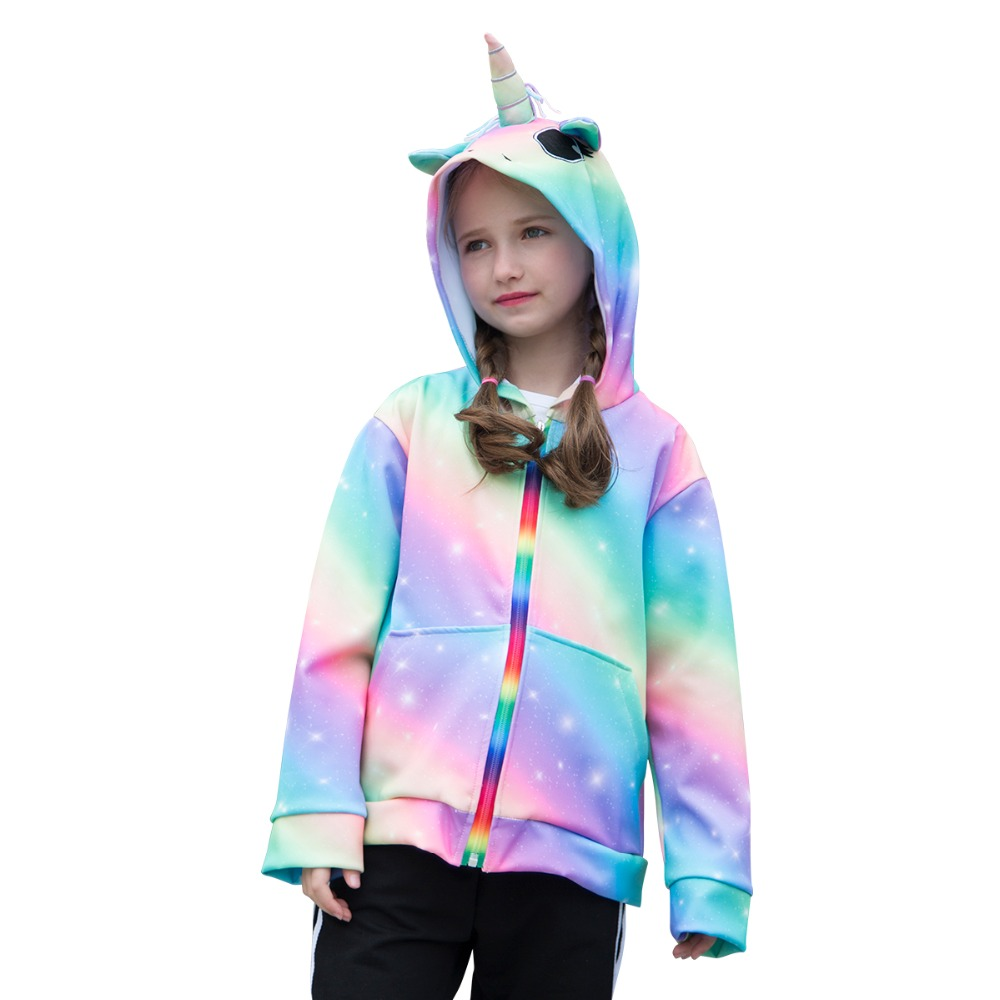 Spring Girls Jacket 3D Rainbow Unicorn Hooded Girls Spring Autumn Outwear Coats Zipper Hoodies Children's Clothing 6-14 Years