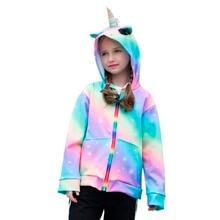 Spring Girls Jacket 3D Rainbow Unicorn Hooded Autumn Outwear Coats Zipper Hoodies Childrens Clothing 6-14 Years