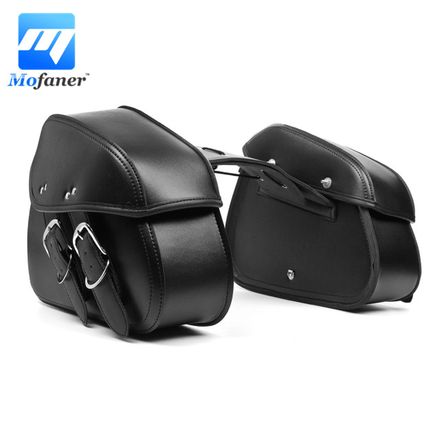 1 Pair Black Motorcycle Motorbike Tas PU Kulit Alat Tas Saddle Bag Tail  Belakang Kiri Sisi 83dca679db