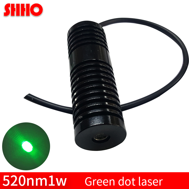 Performance stability high power 520nm 1w green dot laser module long launch distance laser head positioning laser manufacturer