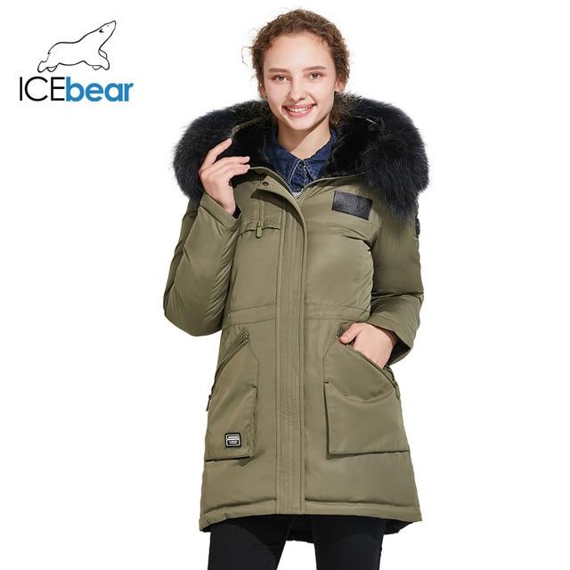 ICEbear 2017 Фирменная зимняя женская куртка с роскошным меховым воротником уникальный дизайн высокого качества 17G6120