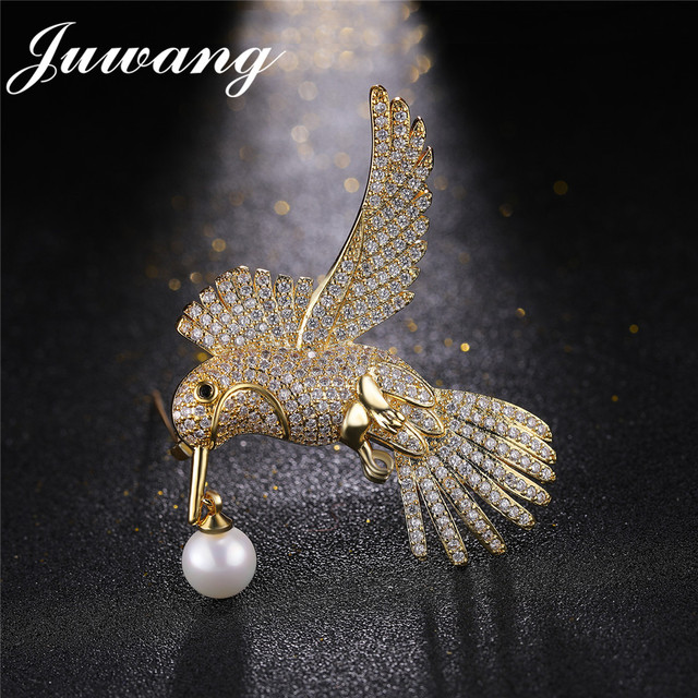JUWANG Women's Lovebird Animal Imitation Pearl Brooch Pin  for Women Rhinestone Pins and Brooches Wedding Jewelry