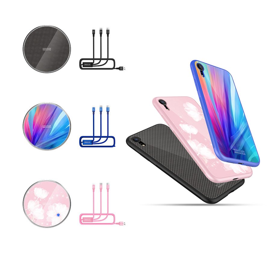 Gift Pack Nillkin Qi Wireless Charging Pad 3 in 1 USB Charging Cable Phone Case for