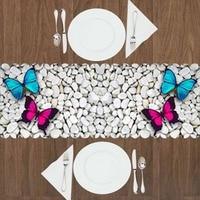 آخر الأبيض رمادي أحجار ملساء مضيئة الوردي الأزرق فراشة 3d طباعة نمط الحديثة الجدول عداء ل المطبخ غرفة الطعام سماط|أغطية المائدة|المنزل والحديقة -