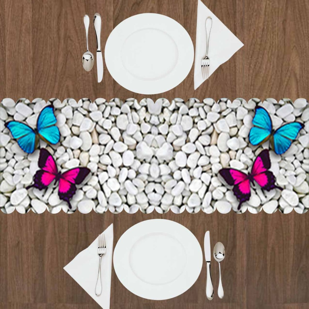 Else White Gray Pebble Stones Pink Blue Butterfly 3d Print Pattern Modern Table Runner  For Kitchen Dining Room Tablecloth