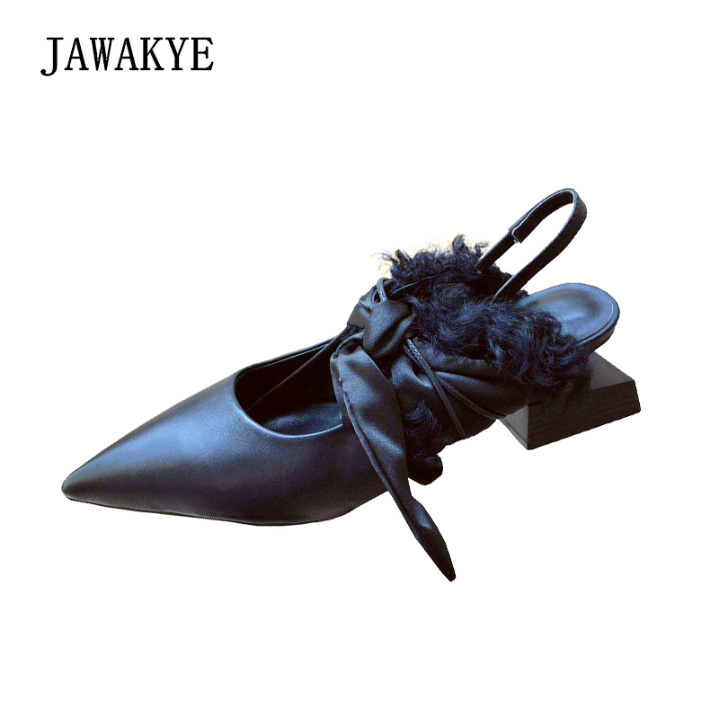 JAWAKYE Shaped wood square heel Party shoes Woman Genuine leather Silk Bow tied Point toe Runway Shoes ladies special SlingbacksJAWAKYE Shaped wood square heel Party shoes Woman Genuine leather Silk Bow tied Point toe Runway Shoes ladies special Slingbacks