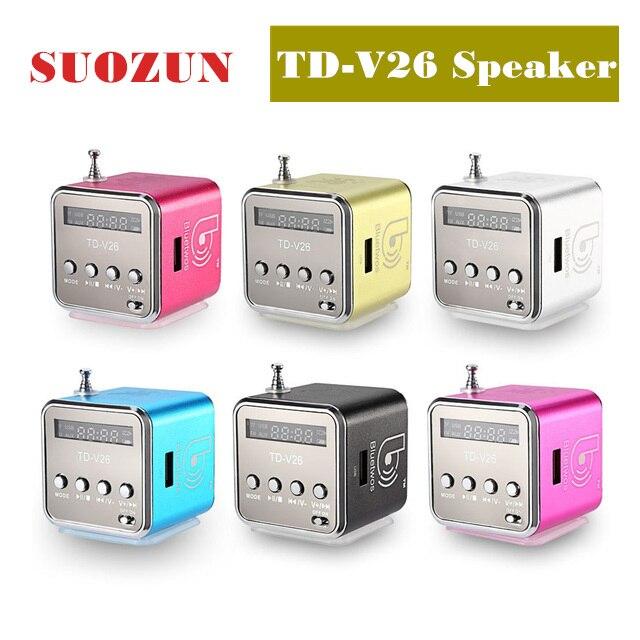 SUOZUN TD-V26 Portable Mini Speaker Aluminum Alloy Stereo Loudspeaker Music Player With FM Radio Support SD Card td v26 portable mini 1 0 lcd speaker w mp3 fm radio deep pink black