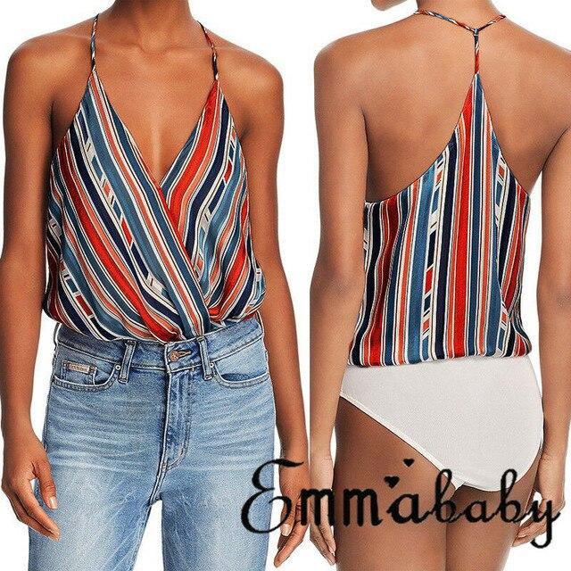 Frauen Sommer Kleidung Weste Top Sleeveless Beiläufige Lose Striped Tank Tops V-ausschnitt Regelmäßige Größe Pullover Polyester Camis