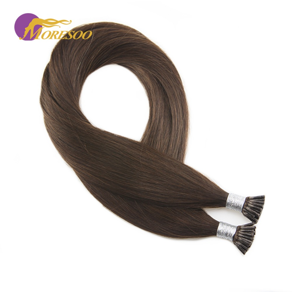 Moresoo Pre-Bonded I Tip Human Hair Extensions Chocolate Brown Color #4 Keratin Tipped 100 Real Remy Hair 1g/s 50strands/pack