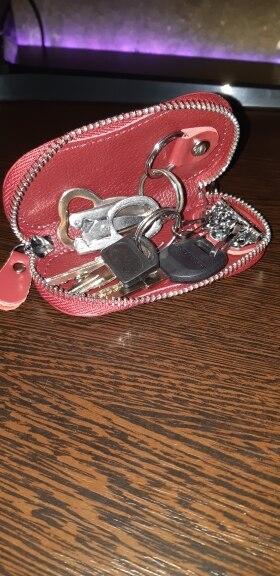 Klsyanyo Genuine Leather Women Key Wallet Automobie Key Bag Zipper Keychain Women Housekeeper Keys Organizer photo review