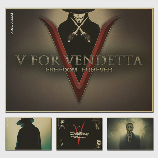 Vintage v for vendetta poster geeky guy fawkes natalie portman gunpowder plot retro kraft paper home