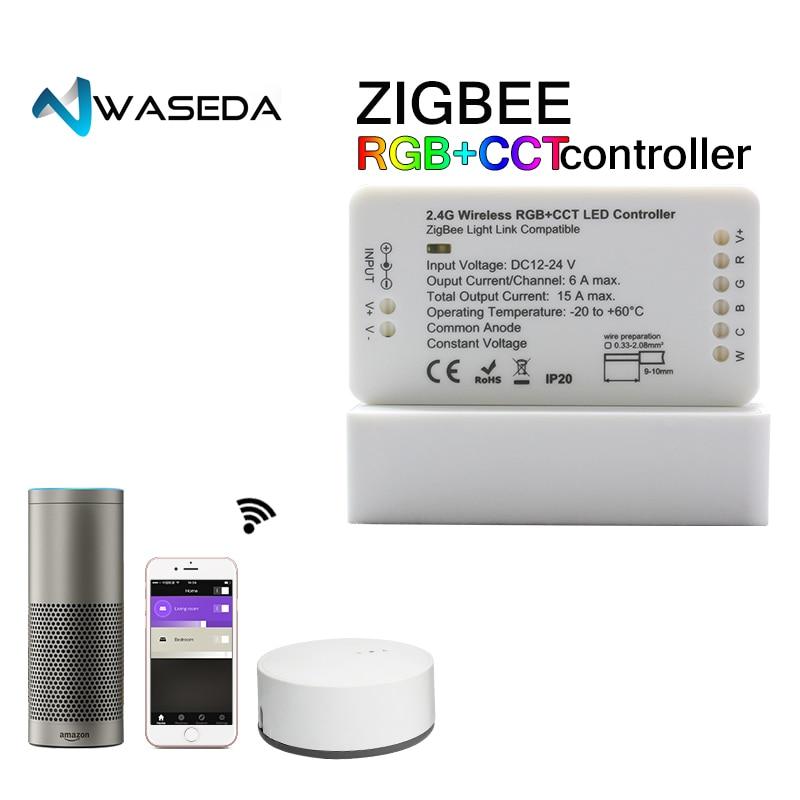 ZIGBEE ponte Ha Condotto Il Regolatore RGBW/CT/RGB + CCT DC12/24 v Zigbee HA CONDOTTO il regolatore regolatore ZLL compatibile con TONALITÀ Lightfy Eco