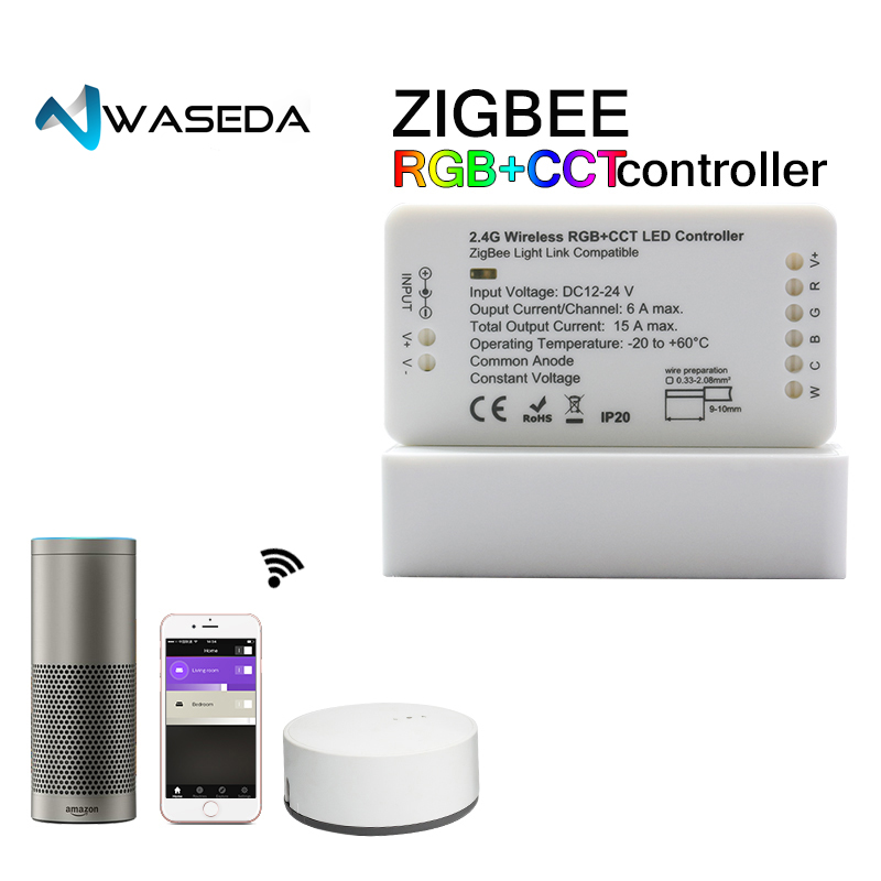 ZIGBEE bridge Led Controller RGBW/RGBW/RGB+CCT DC12/24V Zigbee LED controller ZLL controller compatible with HUE Lightfy Echo zigbee zll link smart strip light rgb rgbw controller dc12v 24v zigbee rgb app control compatible with led echo gledopto led rgb
