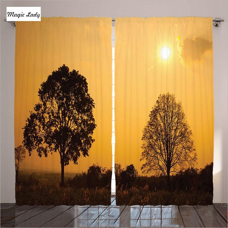 Orange Curtains Living Room Bedroom Desert Tree Sunset Sunny Summer Horizon Safari Scenery Brown Art 2 Panels Set 145265 Sm In From Home Garden