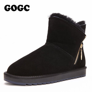Image 2 - Gogc 100% Wol Echt Leer Winter Laarzen Vrouwen Warme Winter Laarzen Met Bont Voor Dames Ontwerp Enkellaars Voor Vrouwen g9838