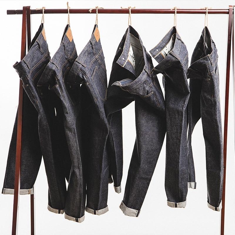MADEN Men's Vintage Regular Straight Leg Fit Indigo Selvedge Denim Jeans
