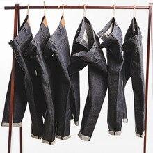 MADEN Men's Vintage Regular Straight Leg Fit Indigo Selvedge Denim Jeans lace up color block selvedge embellished straight leg pants for men