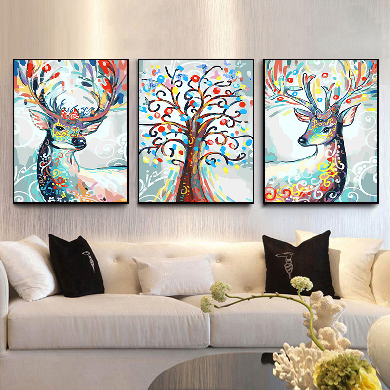Deer series painting picture Triptych painting modular wall pictures diy oil paintings on canvas coloring by numbers picture