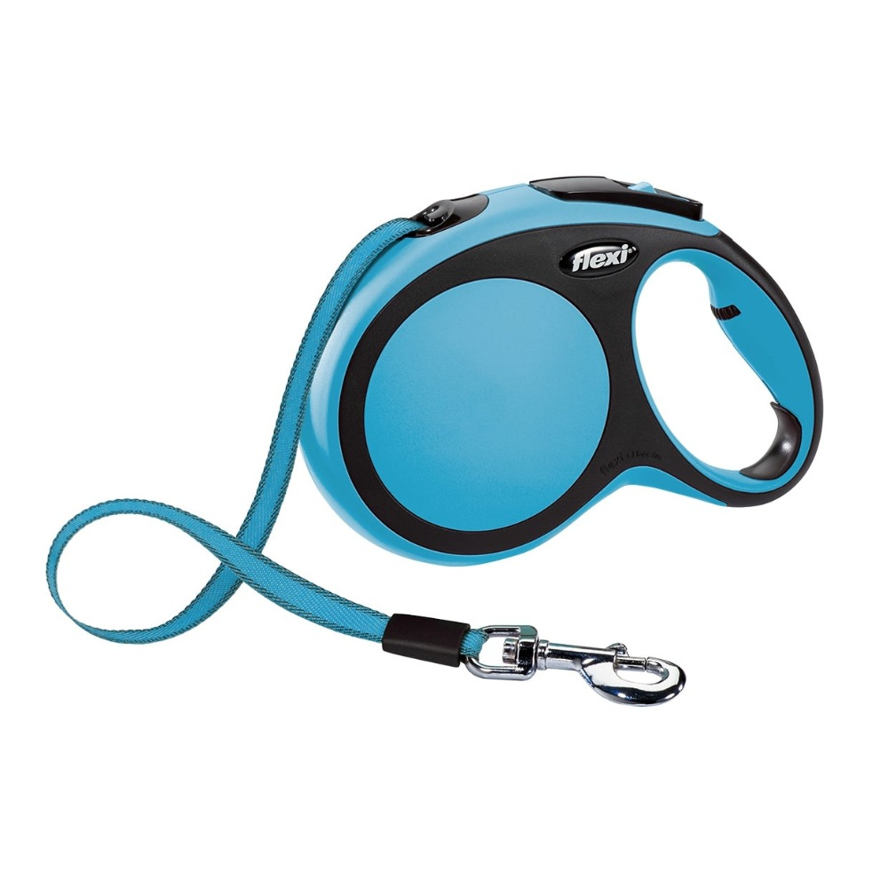 Lead tape measure Flexi for dogs New Comfort L (up to 50 kg), tape, 8 m, blue/black.  Dog Accessories