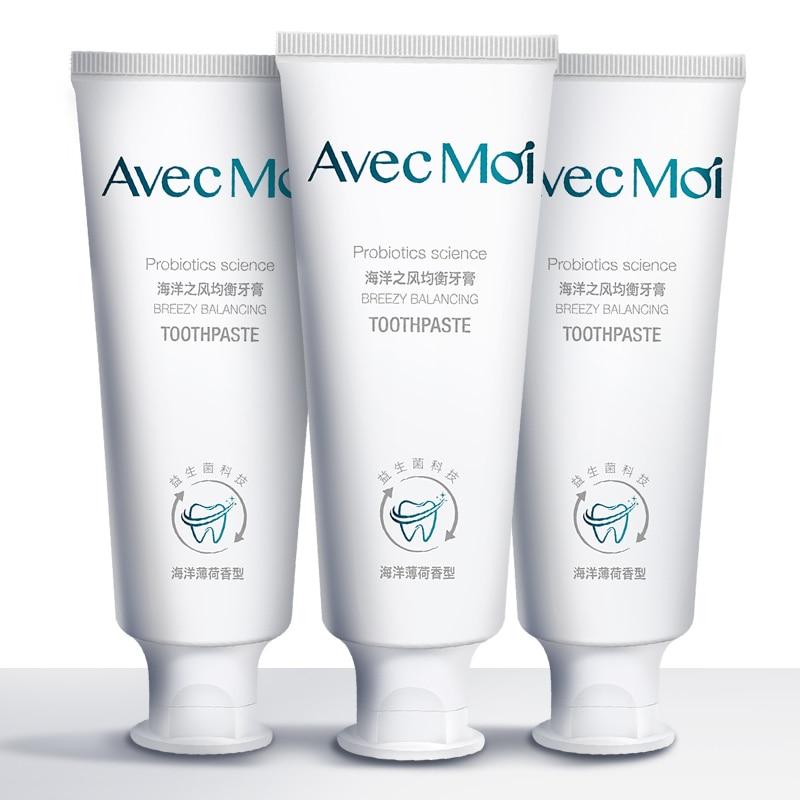 Dentifrice Avec Moi probiotiques 3 pièces, saveur de menthe aquatique, dentifrice antibactérien, brise fraîche durable, blanchiment