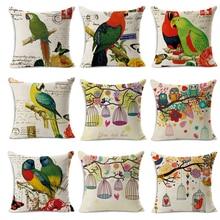 Cojín de lino de asiento de coche barato nórdico Vintage pájaro loro cojines de silla de exterior decoración del hogar para sofás almohada envío gratis MYJ-1605