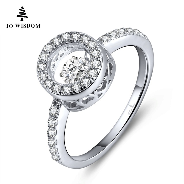 JOWISDOM Wedding Bands Rings with Dancing Natural Topaz Stone for Women Topaz Jewelry 925 Sterling Silver Wholesale Price