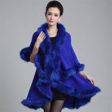 2018 New Winter Faux Fur Women Shawl Evening Party Dress Wraps Fur Shoulder Capes Autumn Plus Slim Lady Fake Fur Cloak CoatWZ291(China)