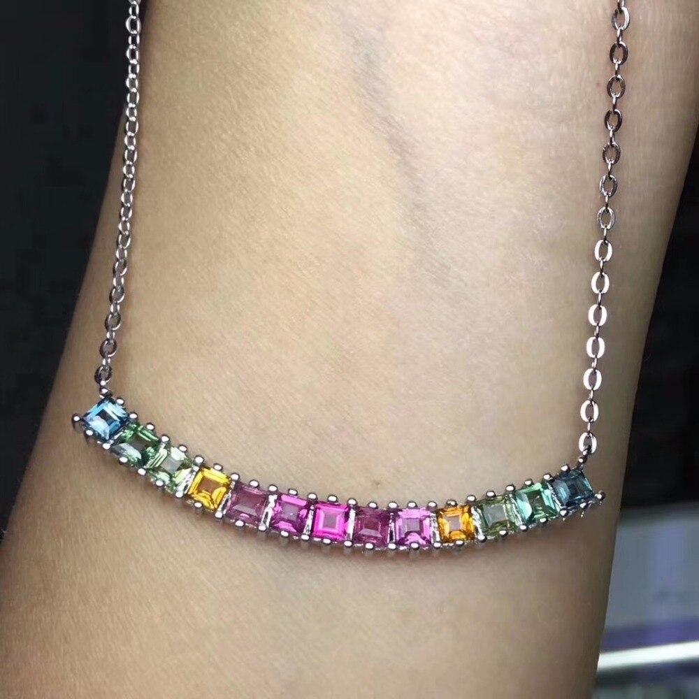 KJJEAXCMY boutique juwelen 925 sterling silber eingelegte natürliche edelstein turmalin dame Halskette Anhänger unterstützung erkennung qwerju-in Anhänger aus Schmuck und Accessoires bei  Gruppe 2