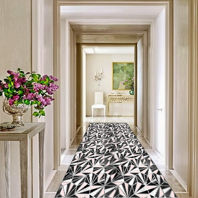 Else Pink Black White Triangles Geometric 3d Print Non Slip Microfiber Washable Long Runner Mats Floor Mat Rugs Hallway Carpets