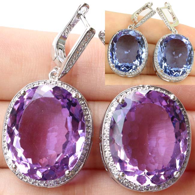 Luxury Top Big Oval Gemstone Color Changing Alexandrite & Topaz CZ 925 Silver Earrings 40x20mm