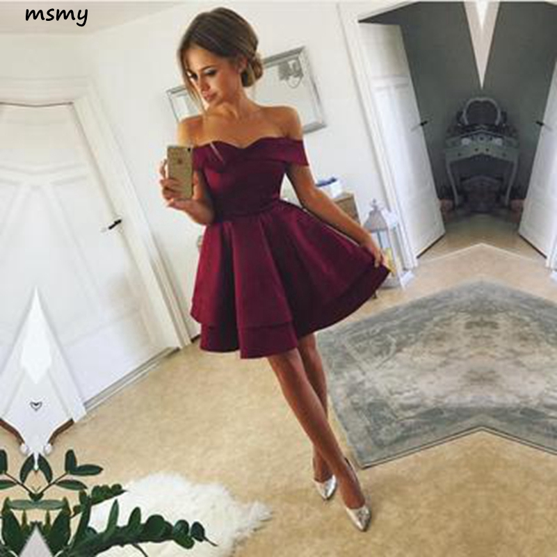 New Sweetheart A Line 2019 Tiered Evening Dress Sleeveless Off Shoulder Knee lengtht Prom Dress Custom