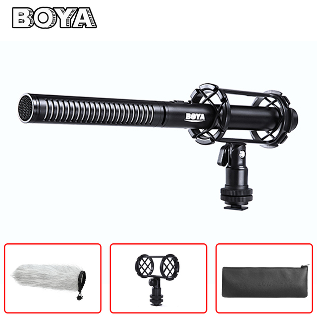 BOYA BY-PVM1000 Condenser Shotgun Video Interview Microphone for Canon Nikon Sony DSLR Camera with Free Windshield Shock Mount