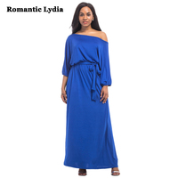 Romanti Lydia2017 Fashion Women Half Lantern Sleeve Maxi Dresses Slash Neck Long Dress Engagement Evening Party