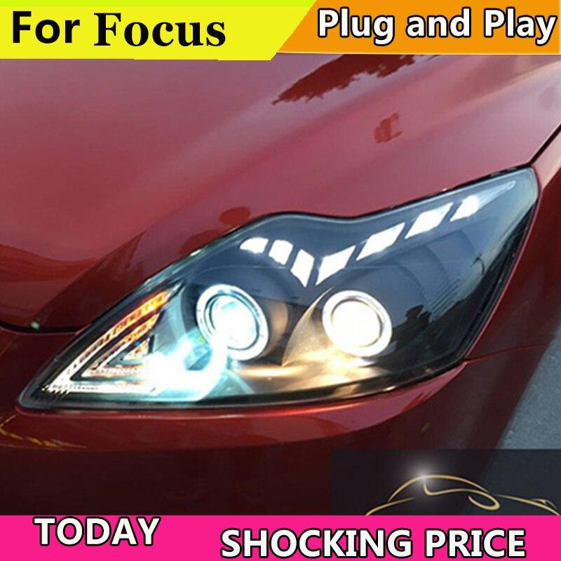 Style de voiture doxa pour phares ford focus 2009-2011 lentille bifocale barre de LED yeux d'ange DRL xenon H7 pour phares Ford Focus