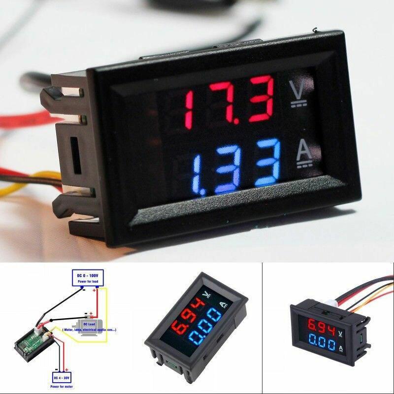 Voltimetro Digital Ammeter 100V 10A DC Red Blue Voltmeter Panel
