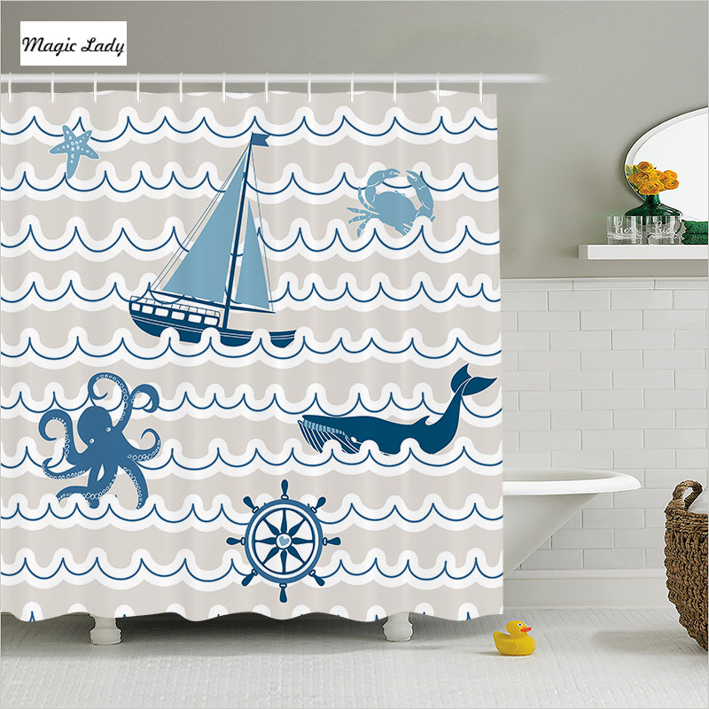 Shower curtain bathroom accessories wave navy nautical for Navy and white bathroom accessories