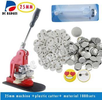 25MM button maker machine + plastic paper cutter+1000pcs 25mm pin button materials set